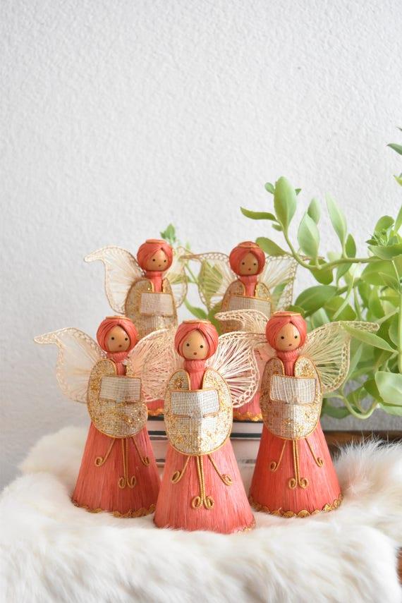 set of vintage straw christmas angel doll figurine