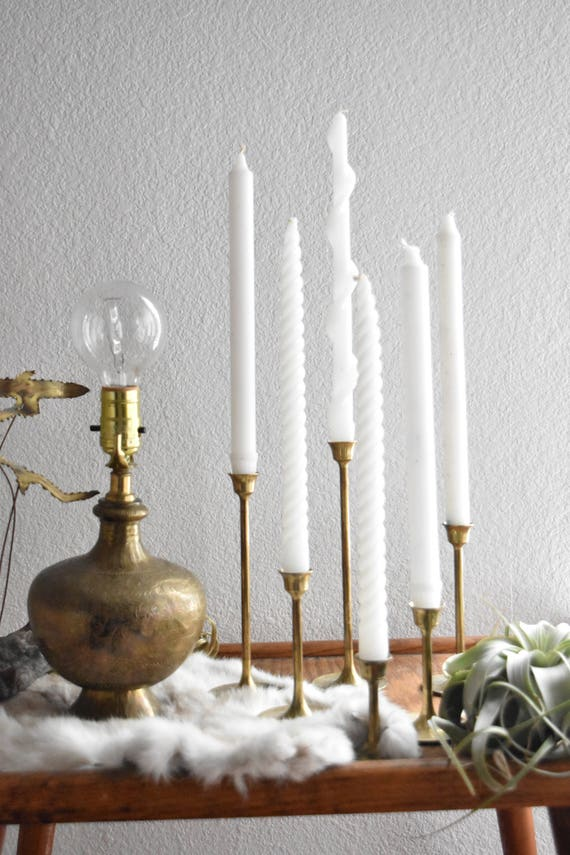 vintage solid brass tulip candle holder votives with candles // set of 6