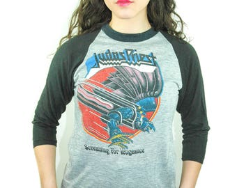 Vintage Judas Priest shirt Screaming For Vengeance Concert shirt Band Tee World Tour Iron Maiden shirt Iron Maiden tee Judas Priest tee M