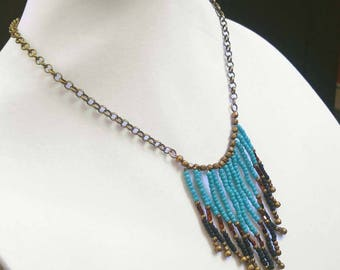 Turquoise, Black & Bronze Cascading Bib Necklace in Glass and Antiqued Gold Plated Brass Chain