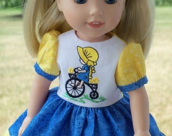 "SALE! Embroidered  Dress  for American Girl Doll 14"" Wellie Wishers®"