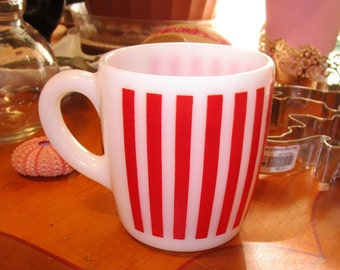 1950s Hazel Atlas Red Candy Stripe Milk Glass Mug