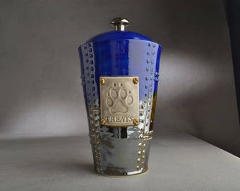 Dog Treat Jar Ready To Ship Treats Blue Sheet Metal Dog Treat Jar by Symmetrical Pottery