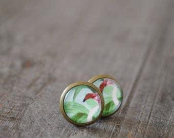 Clous fantaisie - Stud earrings - Plante - Flamant rose - Flamingo - Vert - Rose - Coco Matcha