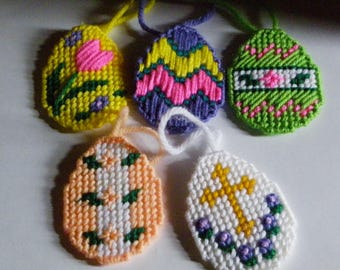 Set of 5 Plastic Canvas Easter Egg Ornaments   #681