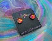 """Glass Opalite Earrings, Red Orange Magenta Glass Opal Stainless Steel Stud Earrings 10mm / 0.39"""""""