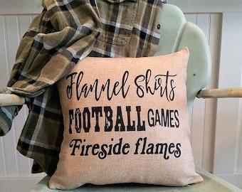 Football pillow, Decorative seasonal pillow, Fall pillow