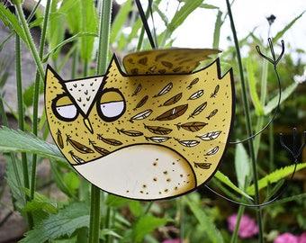 Owl Card - 3D handmade hanging owl card, barn owl card, blank inside card, pop-out, owl greeting card, owl birthday card, owl thankyou card
