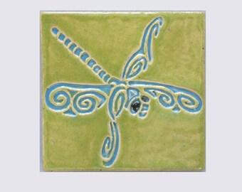 Dragonfly MUD Pi Decorative Handmade 4x4 Ceramic Tile