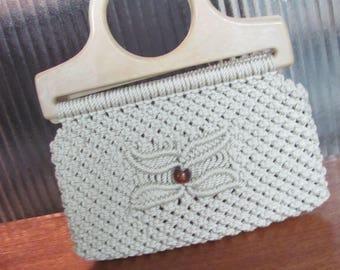 Vintage 1970's Boho Ecru Corded Macrame Handbag with Bakelite Handles - Women - 70's Fashion - Style - 70's Macrame Purse - Top Handle Purse