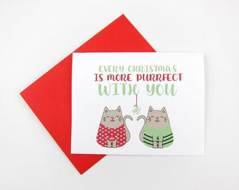 More Purrfect With You Christmas Card | Cat Christmas Card | Christmas Card for Boyfriend | Christmas Card for Girlfriend | Mistletoe