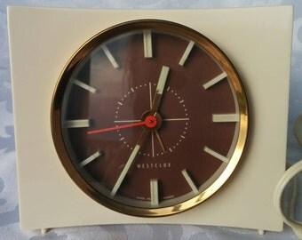 Vintage Westclox Cream and Brown Alarm Clock, Vintage Westclox Electric Clock, Alarm Clock