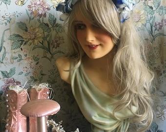 Vintage Hat Fascinator Headband  Blue Millinery Flower Headpiece Costume