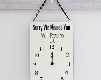 Will Return Clock Sign, Store Hour Sign, Business Sign, Custom Sign, Store Sign, Boutique Sign, Hanging Business Sign, Wood Sign