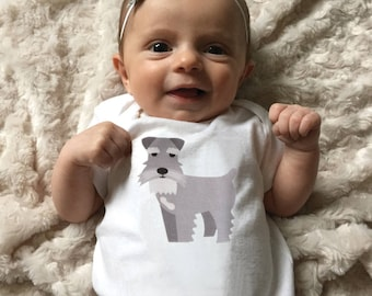 Schnauzer baby clothes, Schnauzer baby bodysuit for baby boy or baby girl, short sleeve, long sleeve, 3 -18 months, baby shower gift
