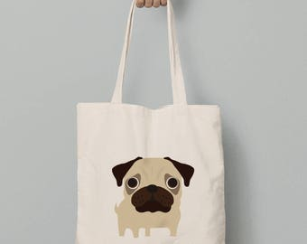 Canvas tote bag, Pug tote bag, gift for her