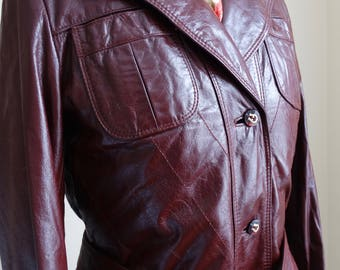 Stunning Vintage 'Etienne Aigner' Full Length Leather, Leather Trench, Leather Coat, Women's sz 8 Leather Coat,Burgundy Oxblood Leather Coat