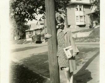 "Vintage Photo ""Teenage School Days"" Snapshot Antique Black & White Photograph Found Paper Ephemera Vernacular Interior Design Mood - 127"