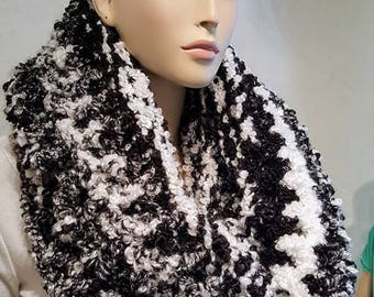 Gray White Black Crochet Infinity Scarf, Crochet Scarf, Infinity Scarf  Black Infinity Scarf, Oversized Infinity Scarf Black and White Scarf