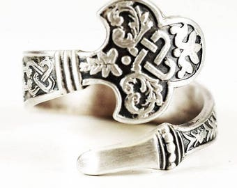 RARE Celtic Spoon Ring, Sterling Silver Spoon Ring, Antique Gorham's No.14 of 1885, Handmade Flatware Jewelry, Adjustable Ring Size (6731)