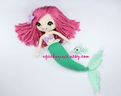 PATTERN: The Little Mermaid with Removable Tail and Fish Friend Crochet Amigurumi Dolls