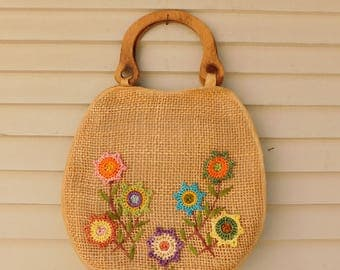Vintage Woven Straw Market Bag, Floral Shopping Tote