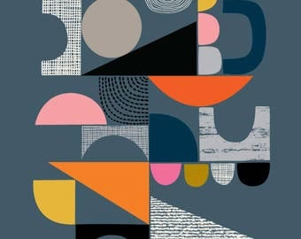 Bits And Pieces Grey, giclee print