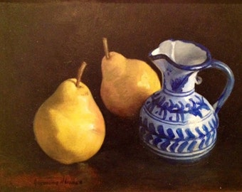 Two Yellow Pears with Blue & White Pitcher