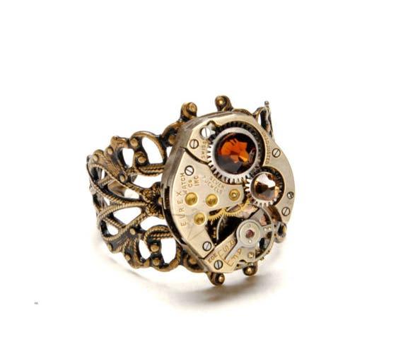 NOVEMBER TOPAZ Steampunk Ring Steampunk Watch Ring Smoked Topaz Vintage Birthstone Ring Victorian Steampunk Jewelry Victorian Curiosities