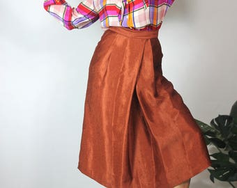Vintage Plaid Silk Blouse Geometric 70s Poet Sleeve Tie Neck Silky Blouse