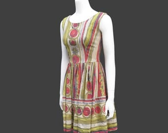 1950s Fit-and-Flare Linen Party Dress, Size S