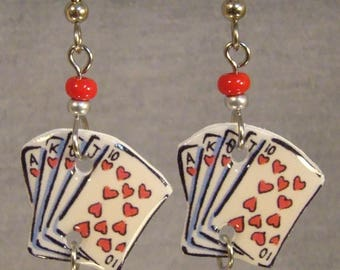 Playing Cards Dangle Earrings - Card Suit Jewelry - Hearts Full House Jewellery