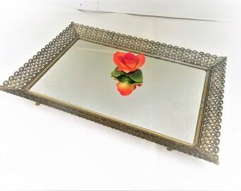 Vintage Mirrored Tray   Brass Filigree Perfume Tray   Mirrored Vanity Tray   Gold Frame Mirror
