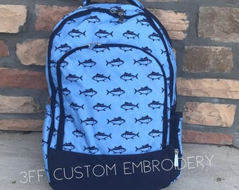 Boys Blue Fish Backpack with FREE Monogram or name, Back to School, Boys Backpack