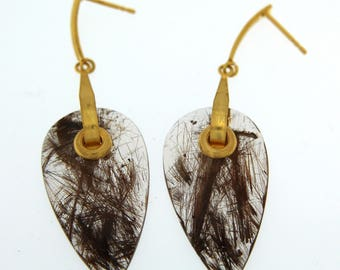 18K Gold and Rutilated Quartz Earrings