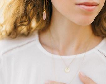Rose Quartz 14k Gold Filled Threaders, Bridesmaid Gift, Minimalist Jewelry, Pink Chalcedony Gemstone Earrings, Ear Threader Earring, Simple
