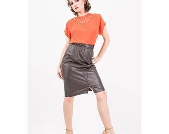 1940s blouse / Vintage coral rayon button back short sleeve blouse / Morlove / Sheer net illusion / M