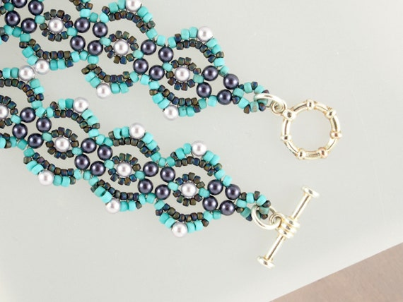 Bohemian Turquoise Beaded Bracelet with Purple Pearls