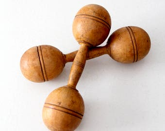 antique dumbbell pair, wooden hand weights
