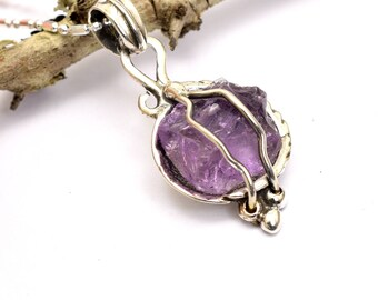 Sterling silver amethyst pendant raw stone necklace lavender rough amethyst  crystal , gift for her, purple jewelry, February birthstone