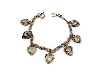 Vintage Heart Charm Bracelet Antiqued Gold Tone Retro Womens 1980s 80s Made in South Korea