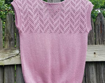 Perfect Orchid Pink/Purple Sleeveless Sweater with Pointelle Design - SM