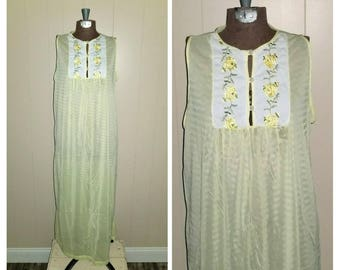 Veruca  ....... Vintage 60s nightie nightgown / long nylon gown sleeveless / yellow roses  floral / J C Penney Gaymode.. S M