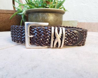 Womens Small Size 28 Brighton Thick Brown Leather Woven Belt Hippie Hipster High Waisted Braided Concho Belt Aztec Mexican Authentic Boho
