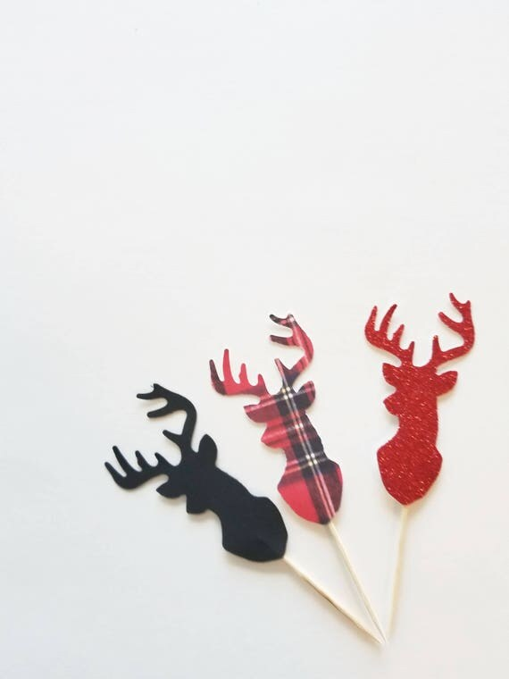 Stag Head Cupcake Toppers Red Plaid Set Dozen Antler Rack Hunting
