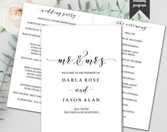 Editable Booklet Style Wedding Program, Elegant, Modern Design, Template, DIY Wedding, PDF, Instant Download - Editable Printable File