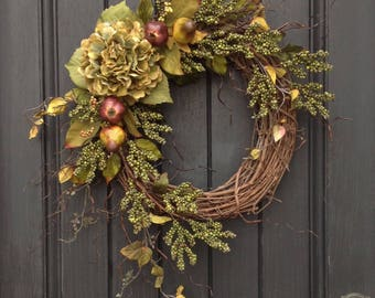 Summer Wreath-Fall Wreath-Green Berry-Wispy Branches-Twig Grapevine Door Wreath Decor-Use Year Round-Green Hydrangea-Fruit-Pear-Pomaegranate