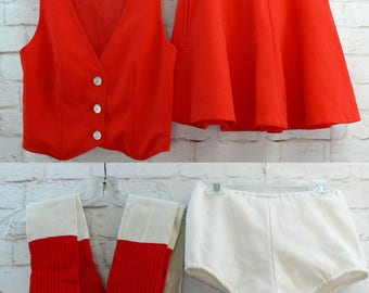 Vintage 70s Cheerleading Skater Baton Uniform Vest Mini Skirt Socks Bloomers XS Red White Costume