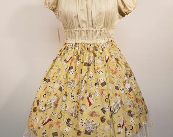 Ivory Alice in Wonderland Themed Onepiece Dress