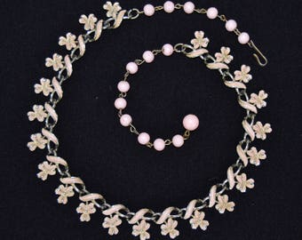 Vintage Necklace with Pale Peachy Pink Enamel Clovers and Beaded Chain by Coro